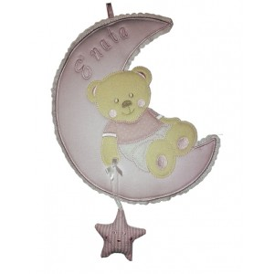 Baby Cockade Announcement - Teddy Bear on the Moon with Star - Pink