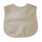 Terry Baby Bib with Strap Closure - Cream Teddy Bear