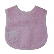 Terry Baby Bib with Strap Closure - Pink Teddy Bear