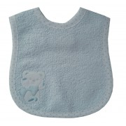 Terry Baby Bib with Strap Closure - Light Blue Teddy Bear