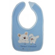 Baby Bib with Strap Closure - Animals - Light Blue