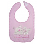 Baby Bib with Strap Closure - Animals - Pink