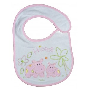 Baby Bib with Strap Closure - Hippos - Pink