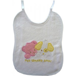 Terry Baby Bib with Dogs - Baby Girl
