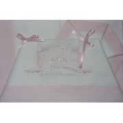 Stitchable Baby Sheets with Teddy Bear - Pink 90x120 cm