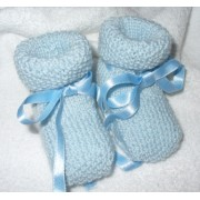 Knitting Baby Boots - Light Blue