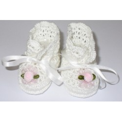 Crochet Baby Boots - Pink Flowers