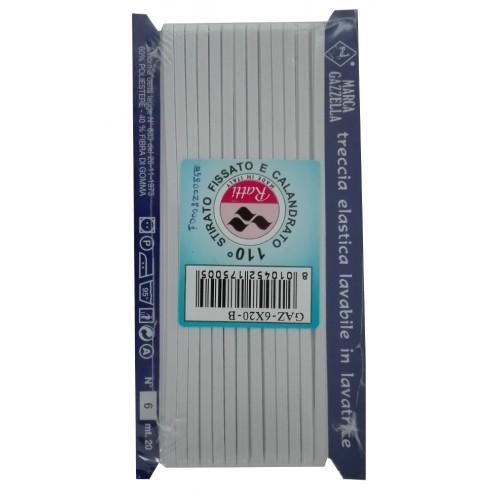 Treccia Elastica Lavabile in Lavatrice - Colore Bianco - Altezza 4 mm