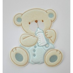 Iron-on Patch - Teddy Bear with Feeding Bottle - Light Blue