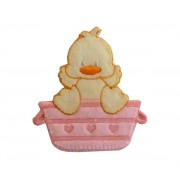 Iron-on Embroidery Sticker - Washing Little Duck  -  Pink