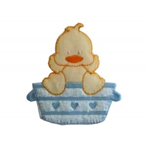 Iron-on Embroidery Sticker - Washing Little Duck  -  Light Blue