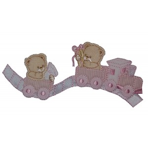 Iron-on Embroidery Sticker - Teddy Bear with Train  -  Pink