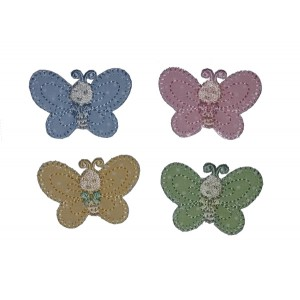 Iron-on Embroidery Sticker - Butterflies - Pastel Colours