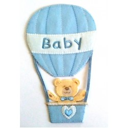 Iron-on Patch - Teddy Bear with Air Balloon - Light Blue