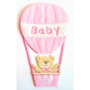Iron-on Patch - Teddy Bear with Air Balloon - Pink