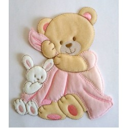 Teddy Bear with Baby Blanket Iron-on Patch - Pink