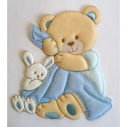 Teddy Bear with Baby Blanket Iron-on Patch - Light Blue
