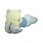 Teddy Bear with Honey Jar Iron-on Patch - Light Blue