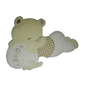 Teddy Bear with Honey Jar Iron-on Patch - Cream