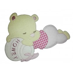 Teddy Bear with Honey Jar Iron-on Patch - Pink