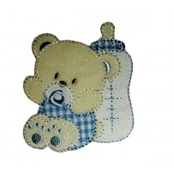 Iron-on Patch - Teddy Bear with Pacifier and Feeding Bottle - Light Blue