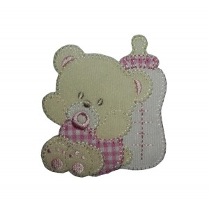 Iron-on Patch - Teddy Bear with Pacifier and Feeding Bottle - Pink