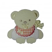 Teddy Bear with Baby Bib Iron-on Patch - Orange