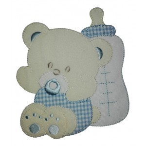 Iron-on Patch - Large Teddy Bear with Pacifier and Feeding Bottle - Light Blue