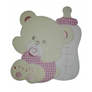 Iron-on Patch - Large Teddy Bear with Pacifier and Feeding Bottle - Pink
