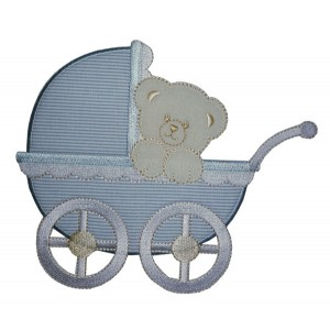 Iron-on Patch - Baby Pram with Teddy Bear - Light Blue