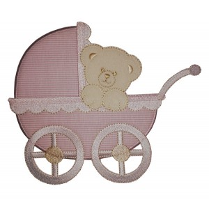 Iron-on Patch - Baby Pram with Teddy Bear - Pink
