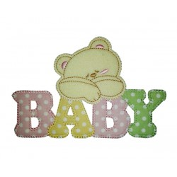 Iron-on Patch - Baby Teddy Bear - Pink