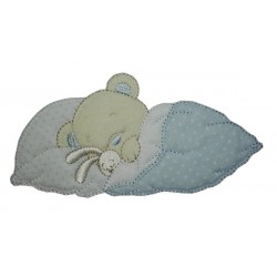 Iron-on Patch - Dreaming Teddy Bear with Rabbit  -  Light Blue