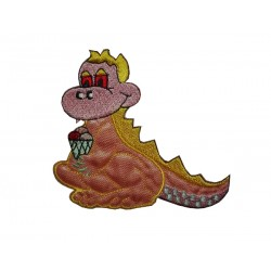 Iron-on Patch - Pink Dinosaur