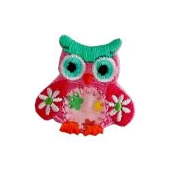 Iron-on Embroidery Sticker - Pink Owl with Little Daisies