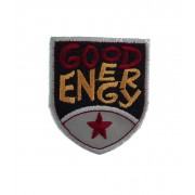 Shield Iron-on Embroidery Sticker - Good Energy - Color Black and Grey