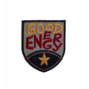Shield Iron-on Embroidery Sticker - Good Energy - Color Grey and Blue