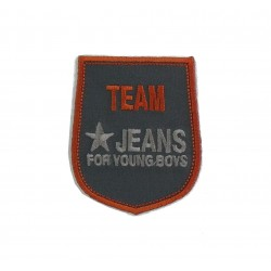 Shield Iron-on Embroidery Sticker - Team Jeans - Color Grey and Orange