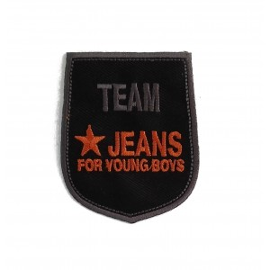 Shield Iron-on Embroidery Sticker - Team Jeans - Color Black and Orange