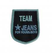 Shield Iron-on Embroidery Sticker - Team Jeans - Color Blue and Light Blue