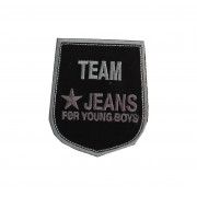 Shield Iron-on Embroidery Sticker - Team Jeans - Color Black and Grey