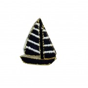 Shield Iron-on Embroidery Sticker - Blue Sailboat