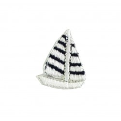 Shield Iron-on Embroidery Sticker - White Sailboat