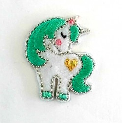Iron-on Embroidery Sticker - Green Water Unicorn