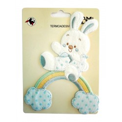 Iron-on Patch - Baby Teddy Bear with Rainbow and Clouds - Light Blue