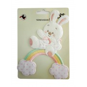 Iron-on Patch - Baby Teddy Bear with Rainbow and Clouds - Pink
