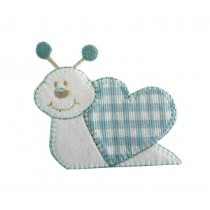 Iron-on Embroidery Sticker - Light Blue Snail