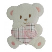 Iron-on Patch - Teddy Bear with Heart - Pink