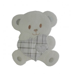 Iron-on Patch - Teddy Bear with Heart - Grey