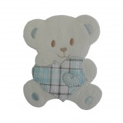 Iron-on Patch - Teddy Bear with Heart - Light Blue